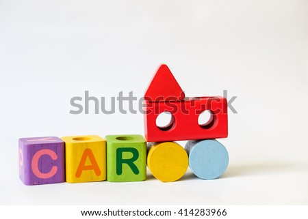 CAR word written on wood blocks, white background with copyspace - stock photo