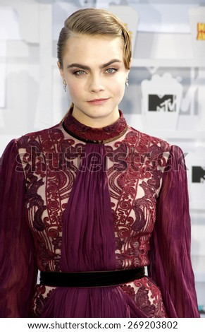 Cara Delevingne at the 2015 MTV Movie Awards held at the Nokia Theatre L.A. Live in Los Angeles, USA on April 12, 2015.  - stock photo