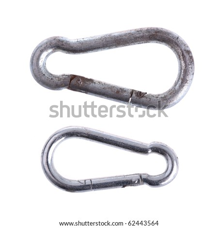 Carabiner - completely isolated on white - stock photo