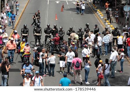 Caracas, Venezuela, February 22, 2014, protests against police repression and government killings of civilians in venezuela - stock photo