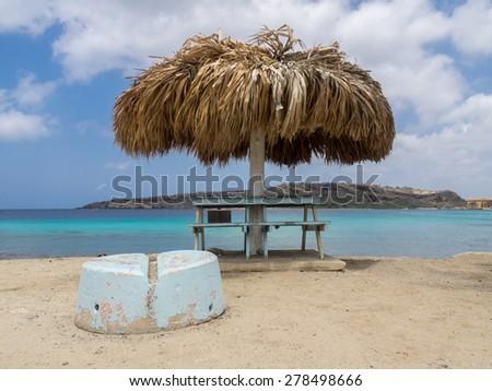 Caracasbaai Bay Beach Curacao ( Dutch Antilles)  an island in the Caribbean Ocean  - stock photo