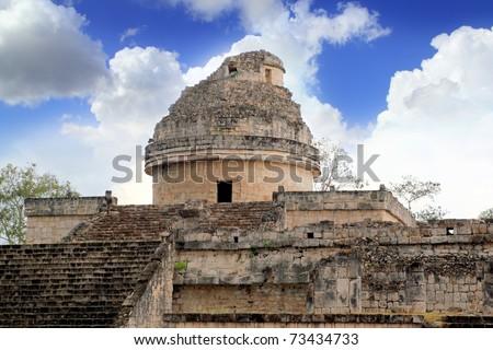 Caracol Mayan observatory Chichen Itza Mexico Yucatan - stock photo