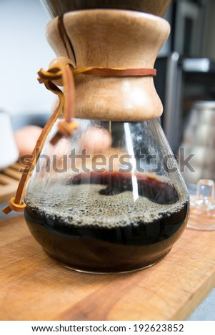 Carafe for Pour Over Style of Coffee Brewing - stock photo