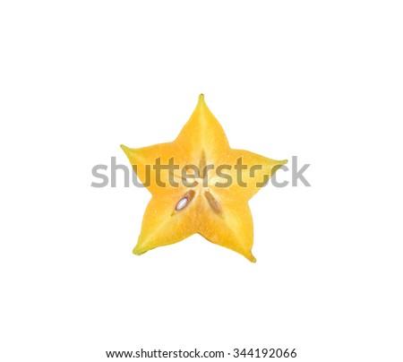 carambola, star fruit isolated on white background. - stock photo