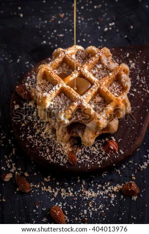 caramel, caramel and waffles, caramel and nuts, caramel drops, caramel flows - stock photo