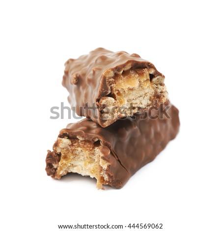 Caramel chocolate bar isolated over the white background - stock photo
