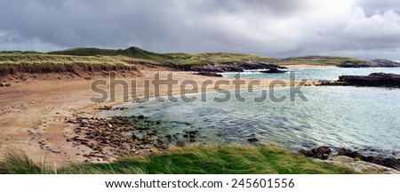 Caramel color beach on Cruit Island - stock photo