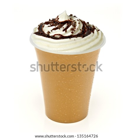 Caramel frappuccino in takeaway cup on white background - stock photo