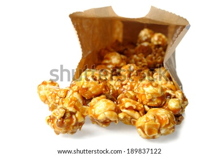 caramel popcorn isolated on white background - stock photo