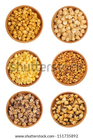 caramel popcorn on wooden bowl isolated on white background  - stock photo