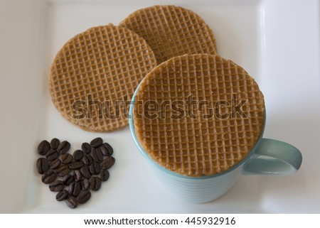 Caramel Stroopwafels and Coffee - stock photo