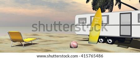 Caravan holidays at the beach - 3D render - stock photo