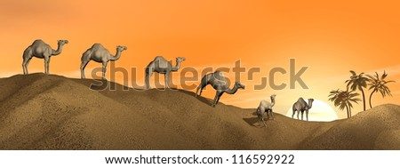 Caravan of camels walking in the desert to an oasis by sunset - stock photo