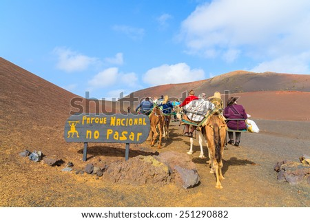 Caravan of camels with tourists in Timanfaya National Park, Lanzarote, Canary Islands, Spain - stock photo