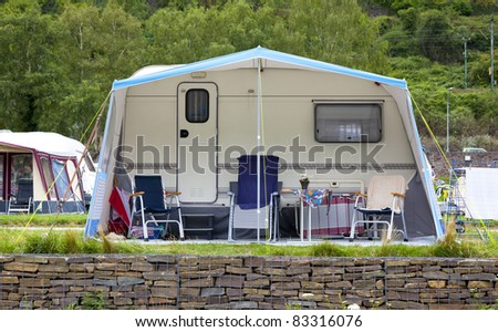 caravan on a camping in germany - stock photo