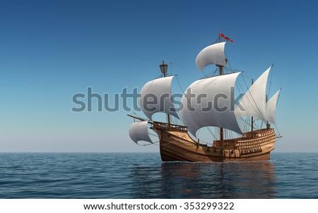 Caravel In The Blue Sea. 3D Scene. - stock photo