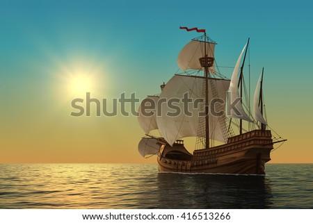 Caravel In The Ocean. 3D Illustration. - stock photo
