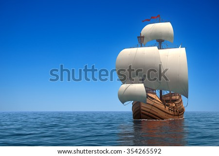 Caravel In The Ocean. 3D Scene. - stock photo