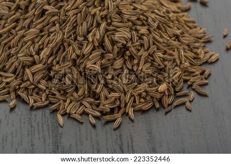 Caraway seeds on the desk