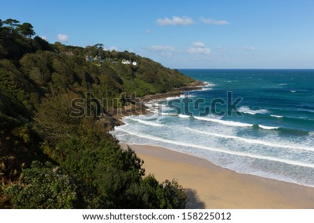 Carbis Bay beach Cornwall England near St Ives and on the South West Coast Path with a sandy beach on a beautiful sunny day  - stock photo