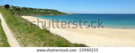 Carbis bay sandy beach panorama in Cornwall UK. - stock photo