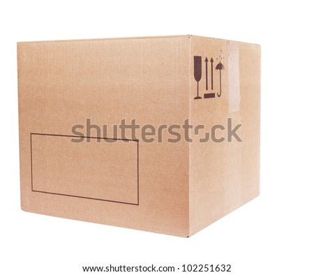 Carboard Box isolated on the white background - stock photo