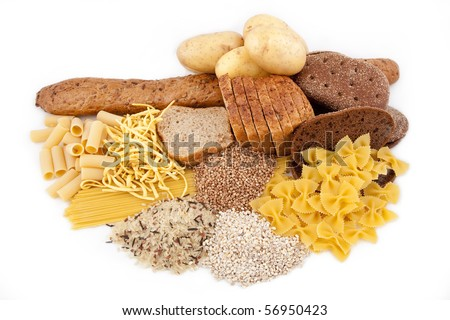 carbohydrate food isolated with potato - stock photo
