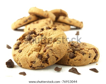 Carbohydrate foods (chocolate chip cookies)  - stock photo
