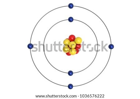 Carbon Atom Bohr Model Proton Neutron Stock Illustration 1036576222