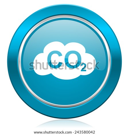 carbon dioxide blue icon co2 sign  - stock photo