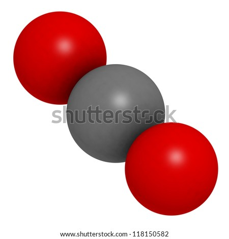 Carbon dioxide (CO2) greenhouse gas molecule, chemical structure - stock photo