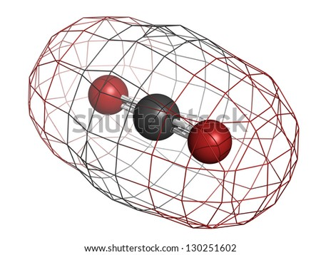 Carbon dioxide (CO2) greenhouse gas molecule, chemical structure. Atoms are represented as spheres with conventional color coding: carbon (grey), oxygen (red) - stock photo