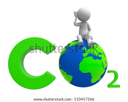 Carbon dioxide /earth/A people standing on a Carbon dioxide   symbol - stock photo