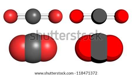 Carbon dioxide molecule, ball-and-stick and space filling molecular models. - stock photo