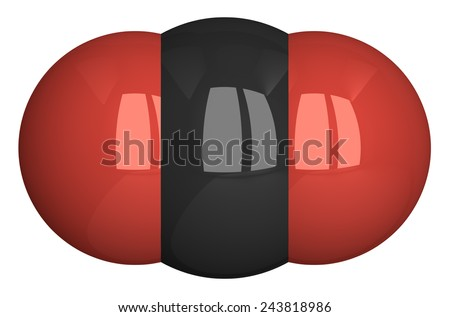 Carbon dioxide molecule isolated on white. Oxygen - red, carbon - black - stock photo
