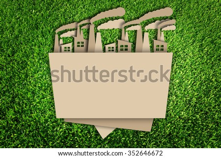 Carbon dioxide. Paper cut of eco on green grass. - stock photo