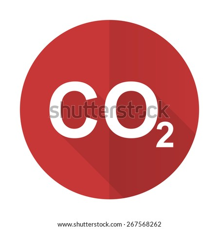 carbon dioxide red flat icon co2 sign  - stock photo
