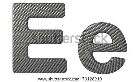 Carbon fiber font E lowercase and capital letters isolated on white