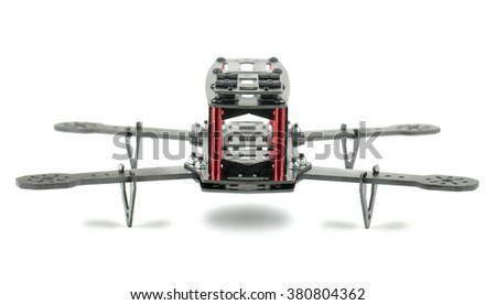 Carbon fiber quadrocopter frame isolated on white background - stock photo