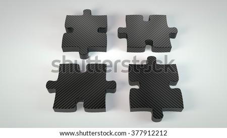 carbon material four puzzle pieces - stock photo