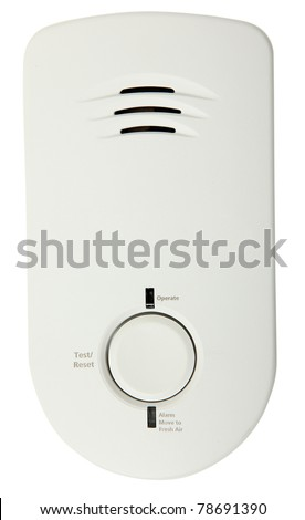 Carbon Monoxide Detector Isolated Over White Background - stock photo