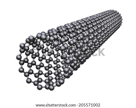 Carbon nanotube - isolated on white background - stock photo