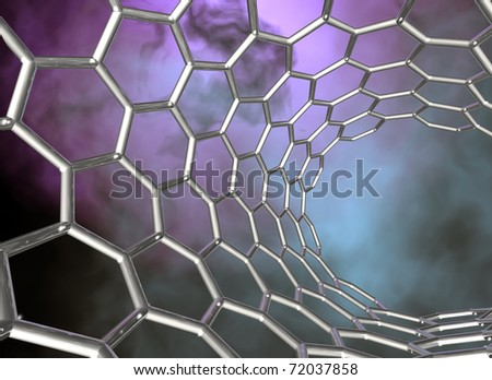 carbon nanotube structure on dark cloudy background - stock photo