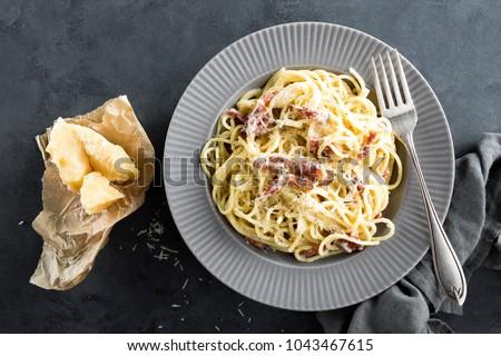 carbonara pasta spaghetti pancetta egg hard stock foto 1043467615 shutterstock. Black Bedroom Furniture Sets. Home Design Ideas
