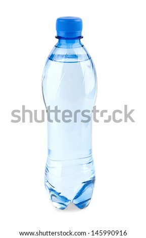 carbonated water in the bottle on a white background