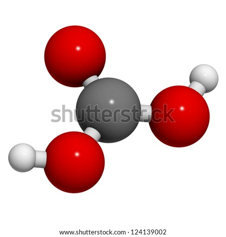 Carbonic acid (H2CO3) molecule, chemical structure. Carbonic acid is found in carbonated soft drinks. - stock photo