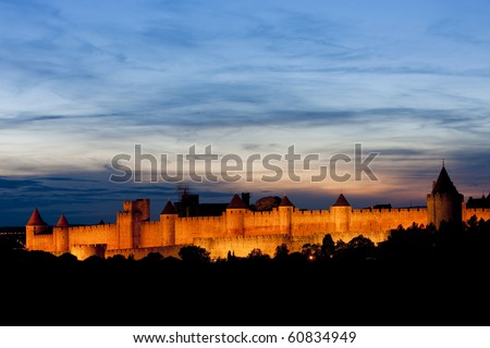 Carcassonne at night, Languedoc-Roussillon, France - stock photo