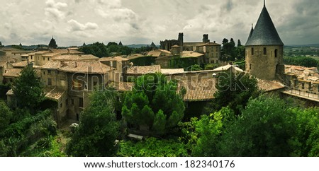 Carcassonne, Languedoc-Roussillon, France. Panorama.  - stock photo