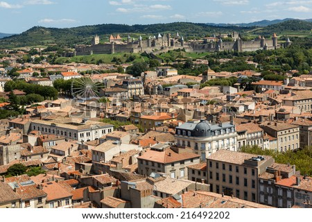 Carcassonne panorama, France - stock photo
