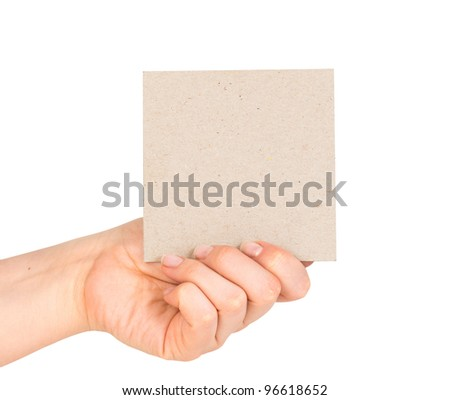 card blank in a hand on the white - stock photo